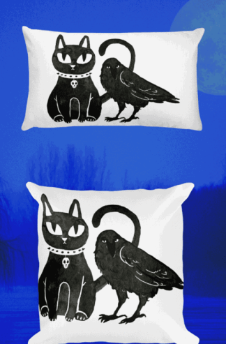Gothic Cat and Crow Coven pillows for gothic girls and witchy people. This cute but creepy design will definitely catch some eyes. Show off your dark style with this pagan art. Witch fashion, pagan fashion, gothic fashion, goth fashion, wicca fashion, occult shirt, witch shirt, pagan shirt, gothic shirt, goth shirt, wicca shirt, witch home decor. #witch #witchcraft #gothic #cat #crow #raven