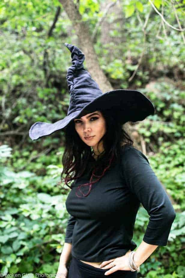 Black Suede Witch Hat - Ruche Extra Large