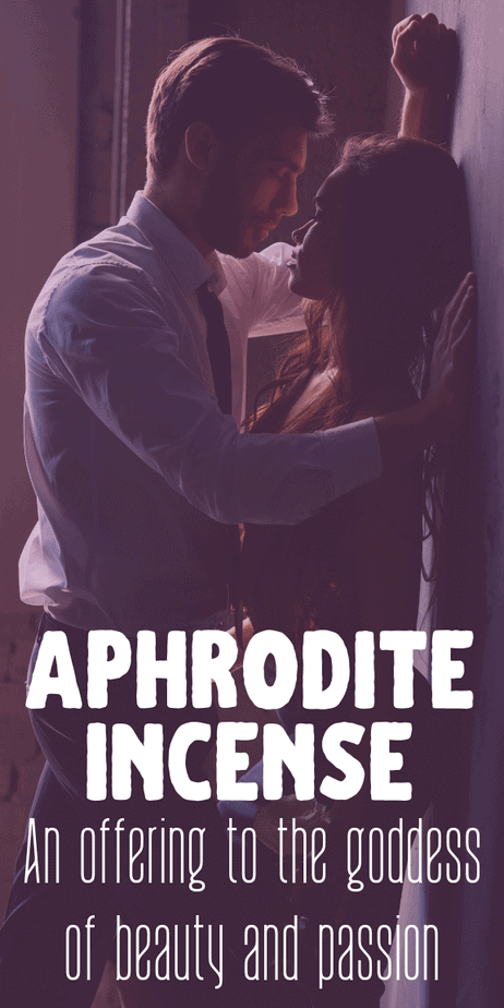 Aphrodite incense for passionate love and beauty spells to use as a pagan offering for the witch goddess Venus. #incense #diyincense #aphrodite #venus #crafts #diy #recipe #incenserecipe #witch #witchcraft #pagan #wicca