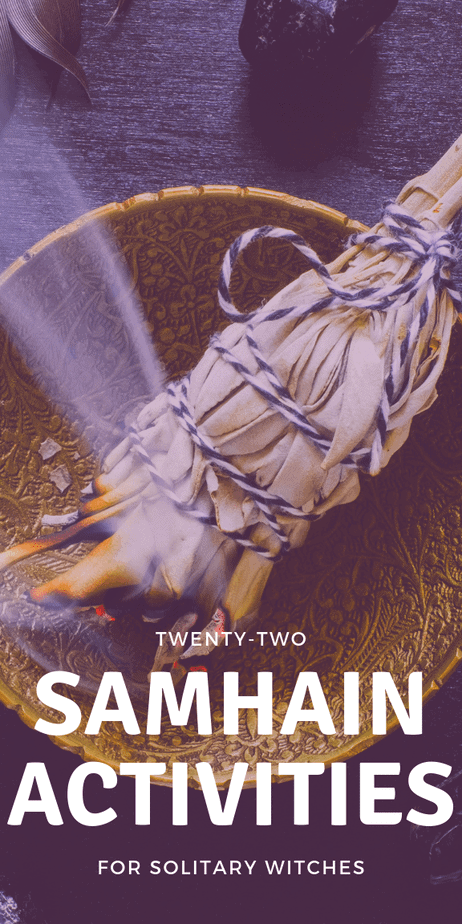 22 awesome activities and rituals for solitary witches during Samhain season. Samhain magick, altar decorations, celebration, crafts, and more. Learn the meaning of Samhain. #samhain #halloween #witchcraft #witch #eclecticwitch #eclecticwitchcraft #eclectic #pagan #wicca #paganism #wiccan #sabbat #death