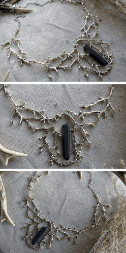 Wild Wood Branch Necklace With Black Crystal: This beautiful necklace has a strong pagan aesthetic. It plays into the goth witchy aesthetic that we all love, and the black crystal will protect you from bad vibes. #pagan #witchcraft #witch #wicca #fashion #jewelry