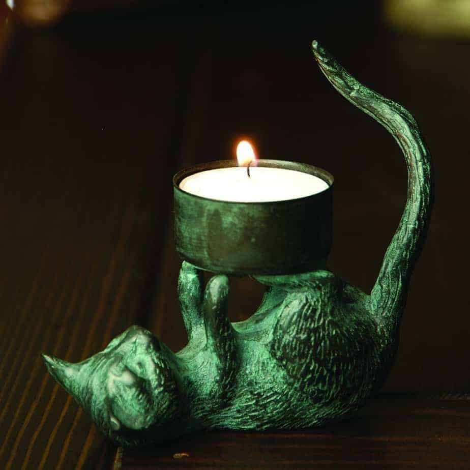 Cat altar candle holder for witches