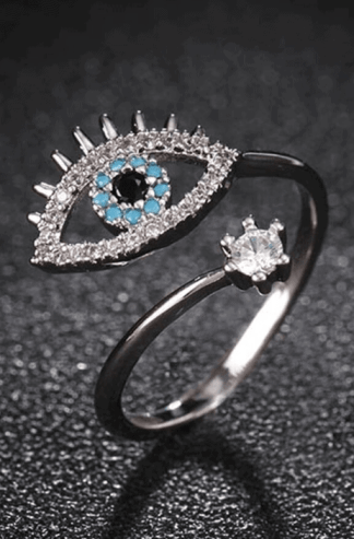 Silver evil eye ring set with gemstones