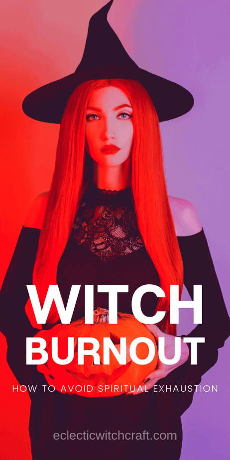 How To Deal With Witch Burnout: Get rid of spiritual exhaustion with a few easy tips. Witches can become frustrated and tired of their spiritual practice over time. Focusing on self care and finding the fun in magic are two ways to deal with burnout in witchcraft. Witch self care tips. Spiritual practice. Spiritual awakening. Spiritual energy growth. Spiritual healing. Metaphysical spiritual inspiration. #witchcraft #selfcare #witch #pagan #wicca #paganism #wiccan #occult