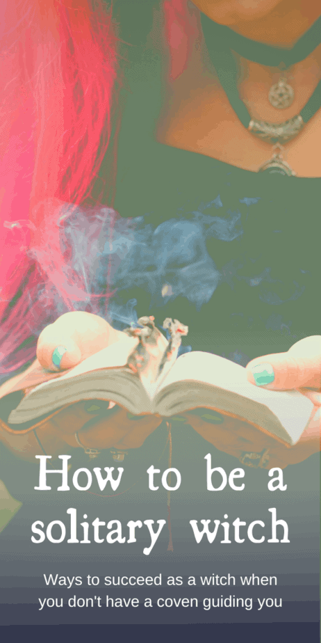 How to be a solitary witch: ways to succeed as a witch when you dont have a coven guiding you. Tips from Eclectic Witchcraft. Being a solitary witch means you are self-initiated and self-sufficient. It also means that you have a deeply personal connection to the gods you may work with, and that your Unverified Personal Gnosis can become your truest religion. #pagan #witch #witchcraft #solitary #solitarywitch #wicca