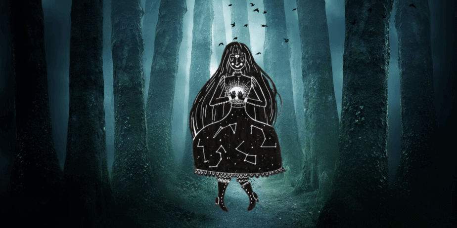An illustrated witch in a dark foggy forest