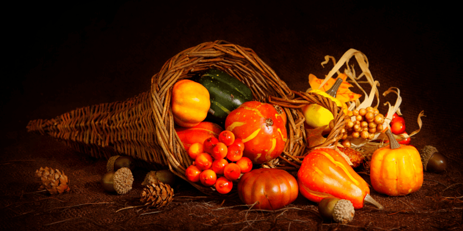 A cornucopia overflowing with produce