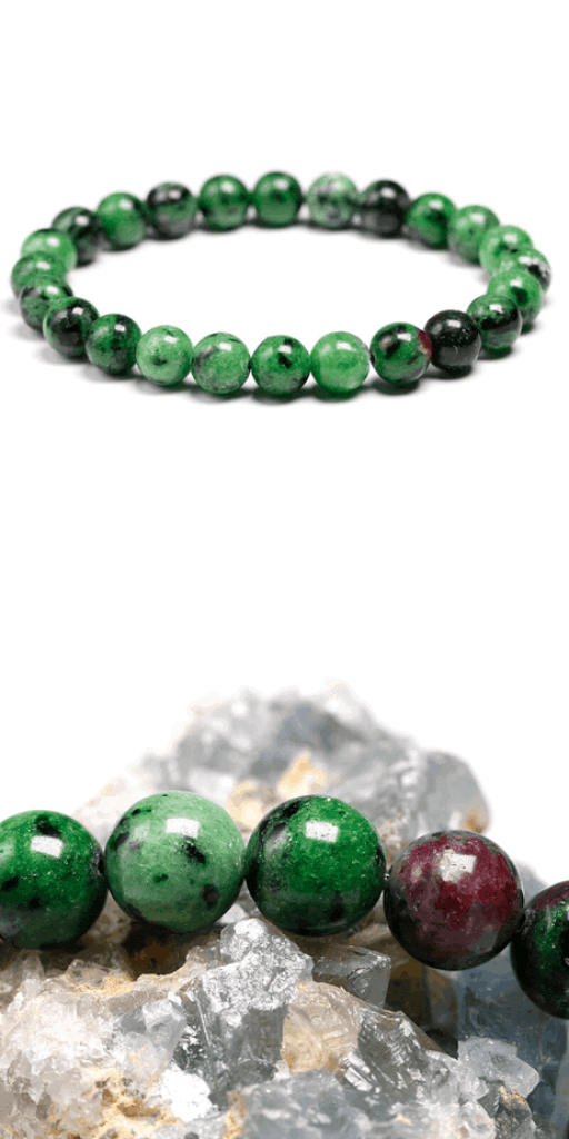 Ruby zoisite bracelet: This incredible crystal has many mental health benefits and has helped me personally with my depression and anxiety. I highly recommend this crystal to anyone that needs an emotional boost! Aka Anyolite. The perfect healing crystal for people with mental health issues. Self care healing crystals. Green and red stones. Crystals for Aries and Aquarius. Crown chakra. Heart chakra. Earth energy. Fire energy. #crystals #healingcrystal #crystalhealing #bracelet #witch #pagan