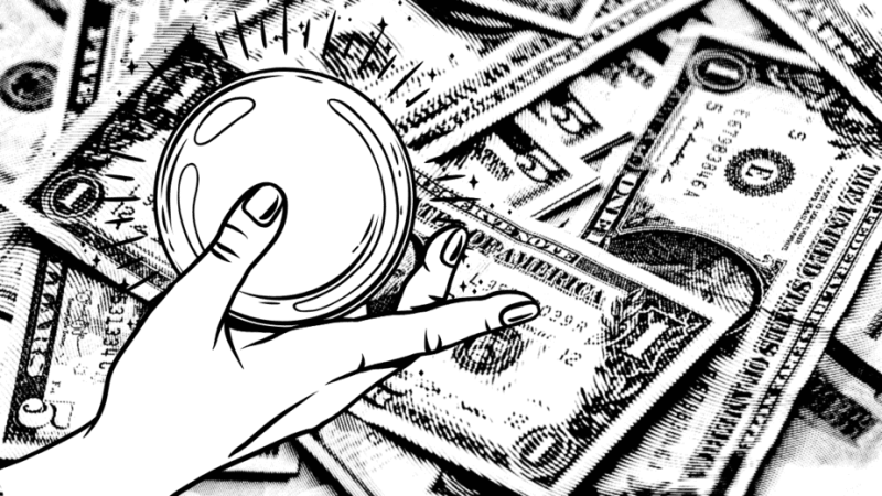Decorative image of money and an illustrated magical hand