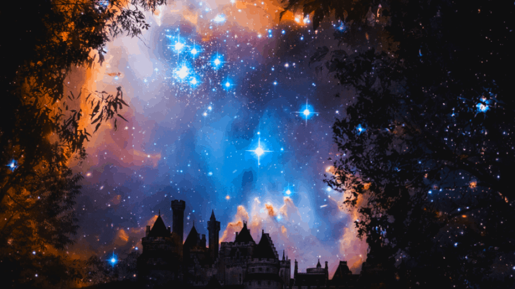 Decorative image of a castle and fantasy sky with bright stars and trees