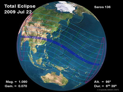 2009 Total Solar Eclipse Global Map