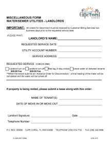 Sample Water Utility Form