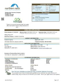Property Insurance Application Sample