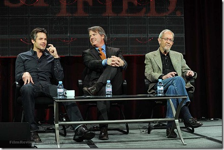 FX TCA: JUSTIFIED: L-R: Timothy Olyphant, stars as Raylan Givens, Graham Yost, executive producer / Writer and Elmore Leonard, Executive Producer. CR: Ray Mickshaw / FX