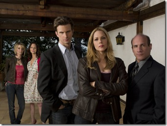 IN PLAIN SIGHT -- Pictured: (l-r) Nichole Hiltz as Brandi Shannon, Lesley Ann Warren as Jinx Shannon, Frederick Weller as Marshall Mann, Mary McCormack as Mary Shannon, Paul Ben-Victor as Stan McQueen -- USA Network Photo: Michael Muller