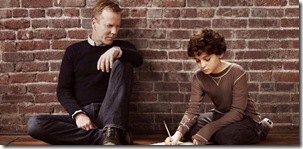 TOUCH:  Kiefer Sutherland (R) returns to FOX as Martin Bohm, a widower and single father, haunted by an inability to connect to his mute 11-year-old son (David Mazouz, L).  But everything changes when he discovers that his son possesses the gift of staggering genius - the ability to see things that no one else can and the patterns that connect seemingly unrelated events.   TOUCH debuts with a special preview Wednesday, Jan. 25 (9:00-10:07 PM ET/PT) and then makes its series premiere Monday, March 19 (9:00-10:00 PM ET/PT) on FOX.  ©2012 Fox Broadcasting Co.  Cr:  Brian Bowen Smith/FOX
