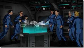 ARCHER, Episode 9:  Space Race, Part I (airing Thursday, March 15).  Sterling Archer and his colleagues at ISIS voyage to the final frontier in an effort to prevent a catastrophe on the International Space Station.  L-R:  Cyril Figgis (voice of Chris Parnell), Commander Anthony Drake (voice of guest star Bryan Cranston), Agent Lana Kane (voice of Aisha Tyler), Agent Sterling Archer (voice of H. Jon Benjamin), Malory Archer (voice of Jessica Walter) and  Agent Ray Gillette (voice of Adam Reed).