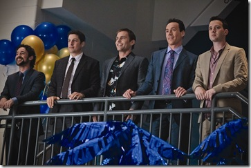 "(L to R) Kevin (THOMAS IAN NICHOLAS), Jim (JASON BIGGS), Stifler (SEANN WILLIAM SCOTT), Oz (CHRIS KLEIN) and Finch (EDDIE KAYE THOMAS) are together again in ""American Reunion"".  In the comedy, all the ""American Pie"" characters we met a little more than a decade ago return to East Great Falls for their high-school reunion."
