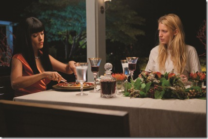 "Elena (SALMA HAYEK) dines with her prisoner, O (BLAKE LIVELY), in ""Savages"", the ferocious thriller from three-time Oscar®-winning filmmaker Oliver Stone that features the all-star ensemble cast of Taylor Kitsch, Lively, Aaron Johnson, John Travolta, Benicio Del Toro, Hayek, Emile Hirsch and Demián Bichir."