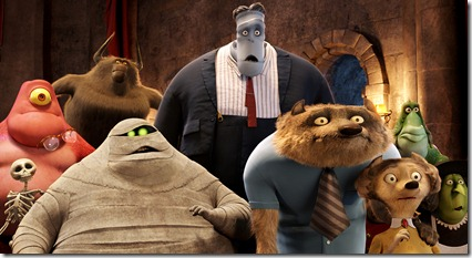 Murray the Mummy (Ceelo Green), Frankenstein (Kevin James), Wayne (Steve Buscemi) and his wife Wanda (Molly Shannon) and other guest check-in in HOTEL TRANSYLVANIA, an animated comedy from Sony Pictures Animation.
