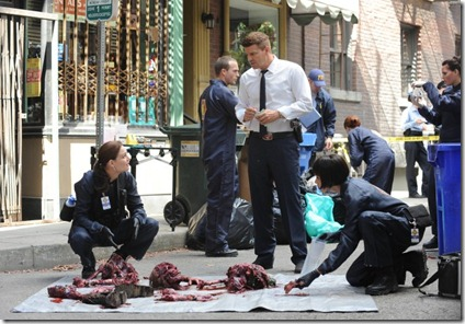 "BONES:   Brennan (Emily Deschanel, L), Booth (David Boreanaz, C) and Cam (Tamara Taylor, R) investigate remains found in a city garbage can in ""The Method in the Madness"" episode of BONES airing Monday, Nov. 5 (8:00-9:00 PM ET/PT) on FOX.  ©2012 Fox Broadcasting Co.  Cr:  Ray Mickshaw/FOX"