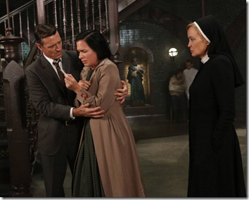 AMERICAN HORROR STORY I Am Anne Frank, Pt. 2 -- Episode 205 (Airs Wednesday, November 14, 10:00 pm e/p) -- Pictured: (L-R) David Chisum as Jim Brown, Franka Potente as Kassie, Jessica Lange as Sister Jude -- CR: Byron Cohen/FX