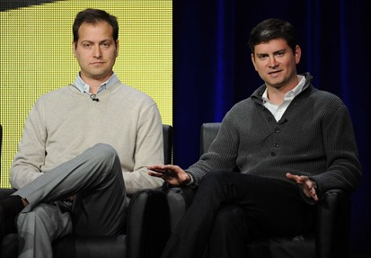 2013 FOX SUMMER TCA: BROOKLYN NINE-NINE (Pictured L-R: ) Creator Executive Producers Dan Goor and Michael Schur during BROOKLYN NINE-NINE panel session at the FOX 2013 SUMMER TCA, Thursday August 1 at the Beverly Hilton in Beverly Hills, CA.   CR: Frank Micelotta/FOX