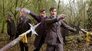 Picture shows: JOHN HURT as The Doctor, MATT SMITH as the Eleventh Doctor and DAVID TENNANT as the Tenth Doctor in the 50th Anniversary Special - The Day of the Doctor