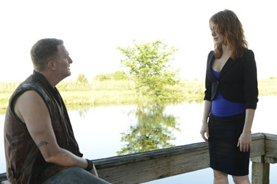 JUSTIFIED -- A Murder of Crowes -- Episode 501 (Airs Tuesday, January 7, 10:00 pm e/p) -- Pictured: (L-R) Michael Rapaport as Daryl Crowe, Jr., Alicia Witt as Wendy Crowe -- CR: Guy D'Alama/FX