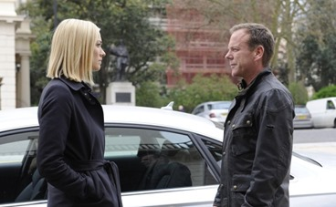 """24: LIVE ANOTHER DAY:  Jack (Kiefer Sutherland, R) discusses his plans with Kate (Yvonne Strahovski, L) in the """"4:00 PM - 5:00 PM"""" episode of 24:  LIVE ANOTHER DAY airing Monday, June 2 (9:00-10:00 PM ET/PT) on FOX. ©2014 Fox Broadcasting Co.  Cr:  Daniel Smith/FOX"""