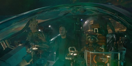 Marvel's Guardians Of The GalaxyL to R: Groot (voiced by Vin Diesel), Peter Quill/Star-Lord (Chris Pratt), Gamora (Zoe Saldana), Rocket Racoon (voiced by Bradley Cooper) and Drax the Destroyer (Dave Bautista)Ph: Film Frame©Marvel 2014