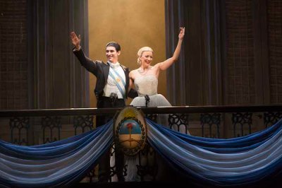 """CAROLINE BOWMAN (Eva); JOSH YOUNG (Che) & SEAN MacLAUGHLIN (Perón) in the National Tour of """"EVITA"""" by TIM RICE and ANDREW LLOYD WEBBER; the Tony Award®-winning musical directed by MICHAEL GRANDAGE and choreographed by ROB ASHFORD; PHOTO CREDIT - Richard Termine; photo call: Tuesday, September 10, 2013; 1:00 PM at the Providence Performing Arts Center; Providence, Rhode Island; Photograph: © 2013 Richard Termine  PHOTO CREDIT - Richard Termine"""