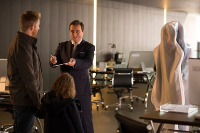 Tom Goodman Hill as Joe Hawkins, Pixie Davies as Sophie Hawkins, Dan Tetsell as Salesman and Gemma Chan as Anita  - Humans _ Season 1, Episode 1 - Photo Credit: Des Willie/Kudos/AMC/C4