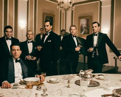 Rich Graff as Lucky Luciano, Craig Rivela as Vito Genovese, Ian Bell as Meyer Lansky, Anthony DiCarlo as Frank Costello and John Stewart Jr. as Bugsy Siegel - Making of the Mob: New York _ Season 1 - Photo Credit: Lawrence French/AMC