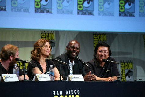 "COMIC-CON INTERNATIONAL: SAN DIEGO 2015 -- ""Heroes Reborn"" Panel & Red Carpet -- Pictured: (l-r) Henry Zebrowski, Rya Kihlstedt, Jimmy Jean-Louis, Masi Oka, Sunday, July 12, 2015, from the San Diego Convention Center, San Diego, Calif. -- (Photo by: Mark Davis/NBC)"
