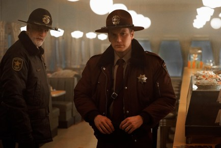 FARGO -- Pictured: (L-R) Ted Danson as Hank Larsson, Patrick Wilson as Lou Solverson. CR: Chris Large/FX