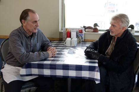 "FARGO ""A Fox, A Rabbit, and A Cabbage"" -- Episode 109 -- Airs Tuesday, June 10, 10:00 pm e/p) -- Pictured: (L-R) Keith Carradine as Lou Solverson, Billy Bob Thornton as Lorne Malvo -- CR: Chris Large/FX"