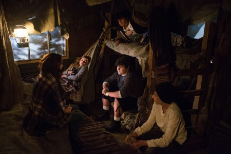 "GRIMM -- ""Lost Boys"" Episode 503 -- Pictured: (l-r) Bree Turner as Rosalee Calvert, Emma Rose Maloney as Lily, Julio Cesar Chavez as Miguel, Eric Osovsky as Big John, Mason Cook as Peter -- (Photo by: Scott Green/NBC)"