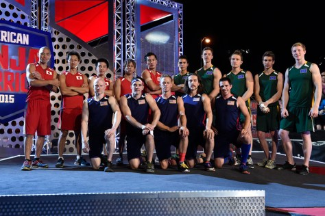 "AMERICAN NINJA WARRIOR -- ""USA vs. WORLD"" -- Pictured: Back Row (l-r) Kenji Takahashi, Masashi Hioki, Yusuke Morimoto, Ryo Matachi, Tomo Kawaguchi, Sean McColl, Alexander Mars, Tim Shieff, Stefano Ghisolfi, Tim Champion; Front Row (l-r) Kevin Bull, Drew Drechsel, Geoff Britten, Isaac Caldiero, Ian Dory -- (Photo by: David Becker/NBC)"
