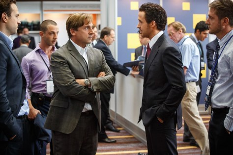Left to right: Rafe Spall plays Danny Moses, Jeremy Strong plays Vinnie Daniel, Steve Carell plays Mark Baum, Ryan Gosling plays Jared Vennett and Jeffry Griffin plays Chris in The Big Short from Paramount Pictures and Regency Enterprises