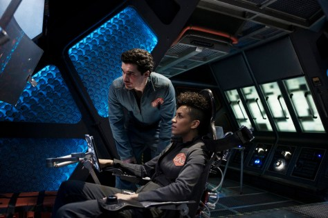 "THE EXPANSE -- ""Salvage"" Episode 108 -- Pictured: (l-r) Steven Strait as Earther James Holden, Dominique Tipper as Naomi Nagata -- (Photo by: Rafy/Syfy)"
