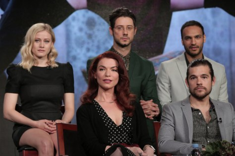 "NBCUNIVERSAL EVENTS -- NBCUniversal Press Tour, January 2016 -- Syfy ""The Magicians"" Session -- Pictured: (l-r) Olivia Taylor Dudley, Sera Gamble, Executive Producer; Hale Appleman, Jason Ralph, Arjun Gupta -- (Photo by: Chris Haston/NBCUniversal)"