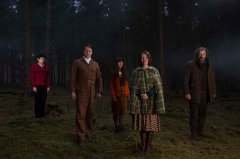 Will Sharpe, Daniel Rigby, Sophia di Martino, Olivia Colman and Julian Barratt in 'Flowers'