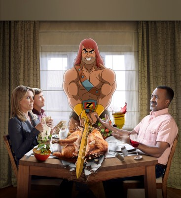 SON OF ZORN: L-R: Cheryl Hines, Johnny Pemberton, Zorn (voiced by Jason Sudeikis) and Tim Meadows. SON OF ZORN is set to premiere Sunday, Sept. 25 (8:30-9:00 PM ET/PT) on FOX. ©2016 Fox Broadcasting Co. Cr: Matthias Clamer/FOX
