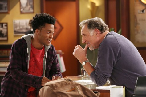 Starring Judd Hirsch (right) and Jermaine Fowler (left), SUPERIOR DONUTS follows the relationship between the gruff owner (Hirsch) of a small donut shop, his enterprising new young employee (Fowler) and their loyal patrons, in a quickly gentrifying Chicago neighborhood.  Based on the play by Tracy Letts, the comedy also stars David Koechner, Maz Jobrani, Anna Baryshnikov, Darien Sills-Evans, Rell Battle and Katey Sagal.  SUPERIOR DONUTS will air during the 2016-2017 season on the CBS Television Network. Photo: Michael Yarish/CBS ©2016 CBS Broadcasting, Inc. All Rights Reserved