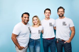This Bar Saves Lives co-founders (L-R) Ravi Patel, Kristen Bell, Ryan Patrick, Todd Grinnell