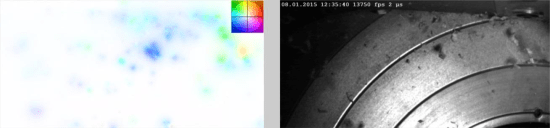 Left: Direction of movement and speed of the particles shown on the basis of a false color image (the color indicates the flight direction of the particles and the intensity of the respective color, the velocity of the particles) Right: One frame from the spindle moulder (red area in Fig. 1).