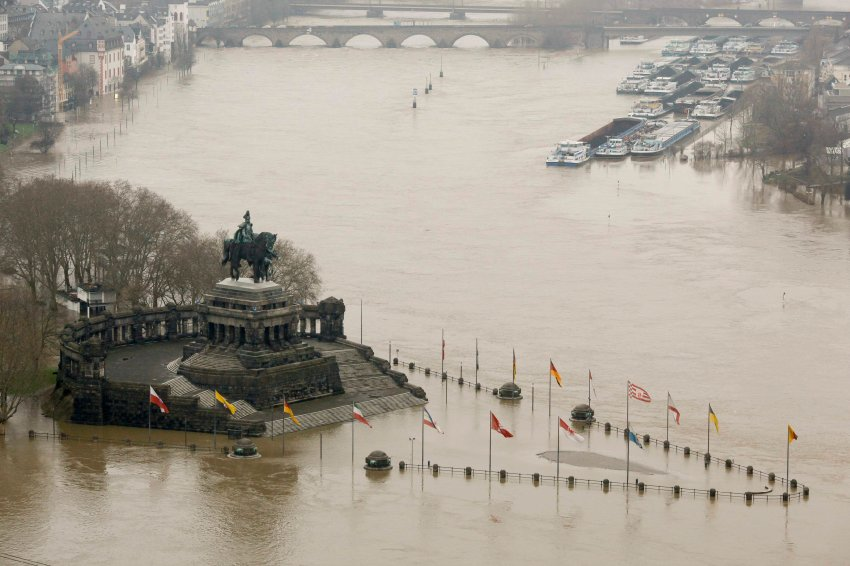 Germany's famous landmark 'Deutsches Eck', the junction of the river Moselle and Rhine is flooded in Koblenz