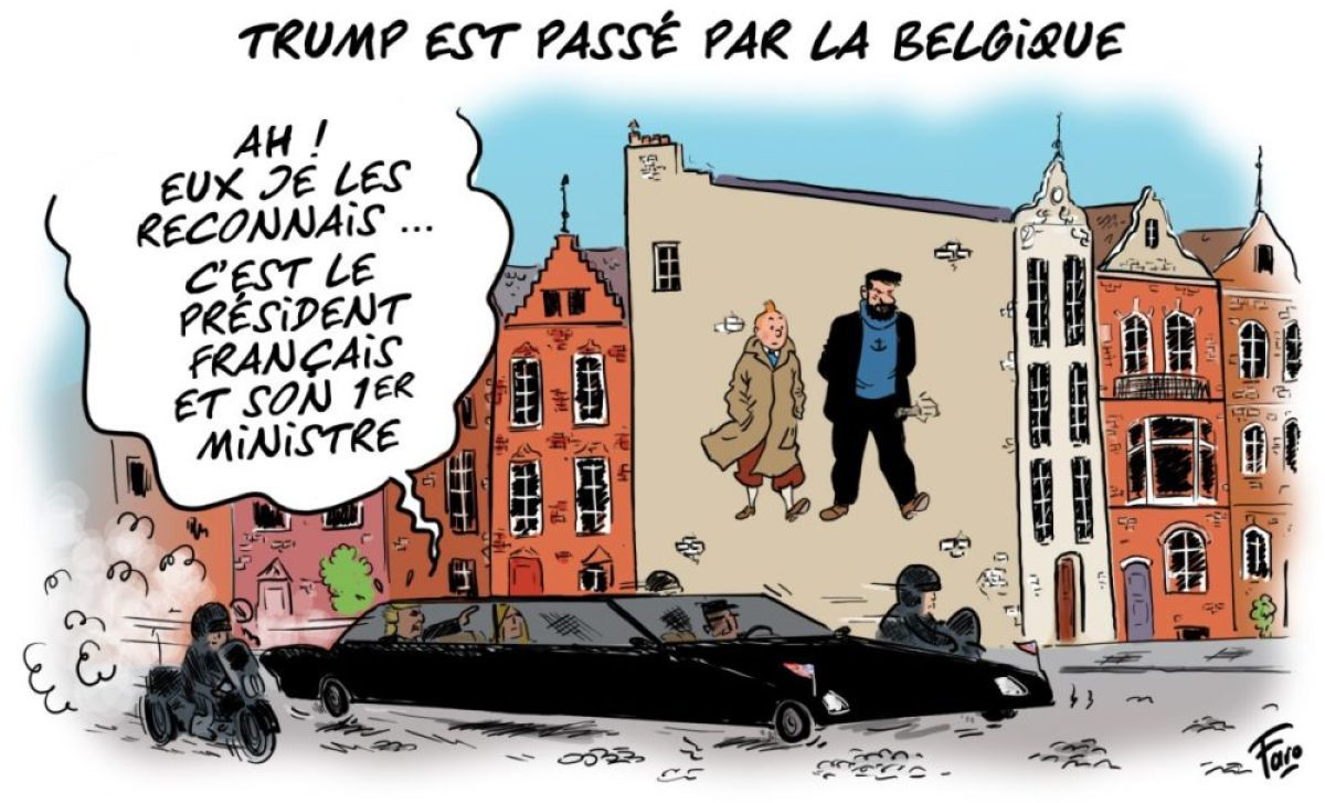 Trump, Macron et Philippe vus par Faro