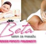 Aromamasaža od strane školovanog aromaterapeuta - relax masaža hladno prešanim certificiranim eteričnim uljima, klasična masaža - pomoć za probleme s kralježnicom, smanjivanje boli, poboljšanje cirkulacije, metabolizma, detoksikacije i antistrenog učinka, anticelulitna masaža za efikasno rješavanje problema s celulitom, masaža leđa i cijelog tijela za žene i muškarce, kvalitetna masaža, akcijske cijene masaže u Zagrebu, Salon za masažu Beta na Malešnici u Zagrebu
